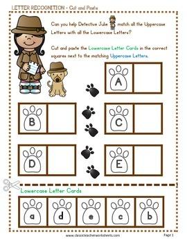 Letter Recognition - Cut & Paste - Kindergarten to Grade 1 (1st Grade)