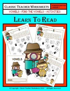 Vowels - Find the Vowels Activities - Kindergarten to Grade 1 (1st Grade)
