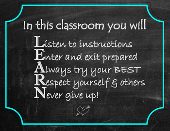 LEARN - classroom rules/poster/inspirational/posters/back to school/chalkboard