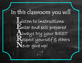 LEARN - classroom rules/poster/inspirational/posters/back
