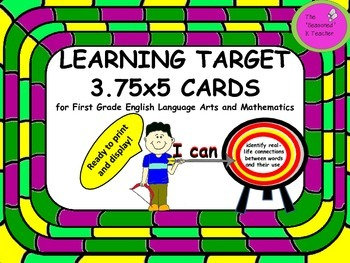 LEARNING TARGET 3.75x5 inch CARDS for First Grade ELA and