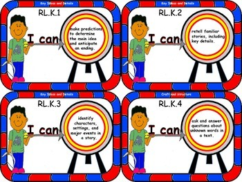 LEARNING TARGET 3.75x5 inch CARDS for Kindergarten ELA and Mathematics
