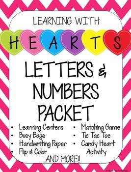 Valentine's Day Hearts Literacy & Math Centers - prek & kindergarten