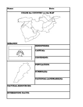 LEBANON COUNTRY RESEARCH WORKSHEET