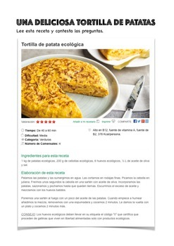 SPANISH READING : RECETA TORTILLA DE PATATAS