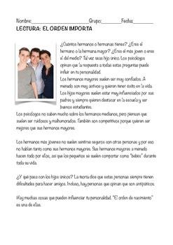 SPANISH READING LECTURA ESPAÑOL: HERMANOS