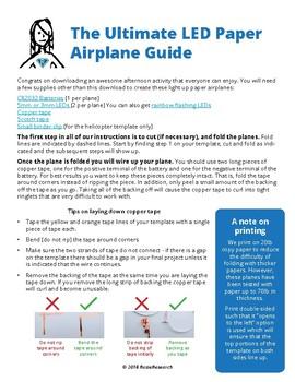 LED Paper Airplane Templates - Learn Circuits through FUN!