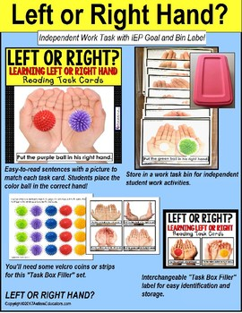 "LEFT OR RIGHT HAND Task Cards ""TASK BOX FILLER"" for Autism and Special Needs"
