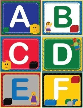 LEGO Like ABC 123 Number and Letter Cards Shelf Labels
