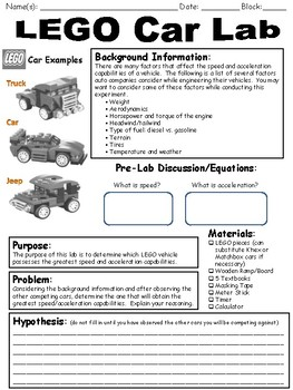 LEGO Car Speed and Acceleration Lab