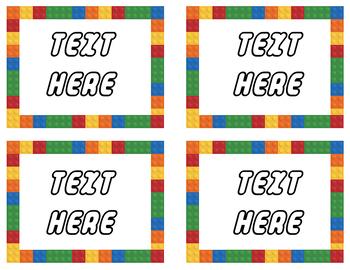 LEGO Classroom Labels - EDITABLE