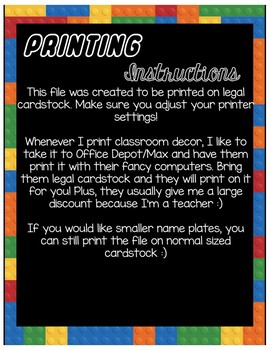 LEGO Classroom Nameplates