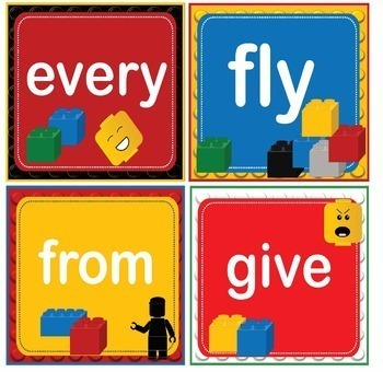 LEGO Like Dolch First 1st Grade Sight Words Flash Cards, Letters and Numbers