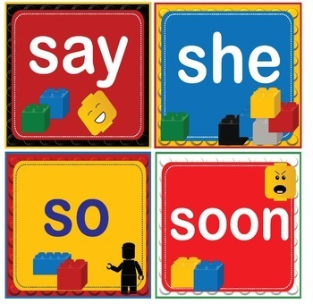 LEGO Like Dolch Kindergarten K Grade Sight Words Flash Cards, Letters & Numbers