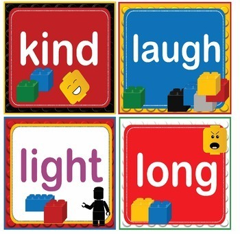 LEGO Like Dolch Third 3rd Grade Sight Words Flash Cards, Letters and Numbers