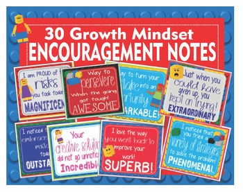 LEGO Like Growth Mindset Encouragement Notes Cards - 30 Different Cards