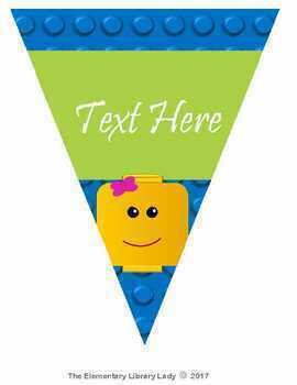 LEGO Like EDITABLE Pennants Chevrons Flags - Small and Large