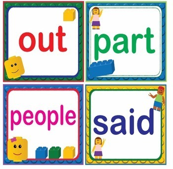 LEGO Like Fry Sight Words Flash Cards, Letters and Numbers - BUNDLE 1,000 words