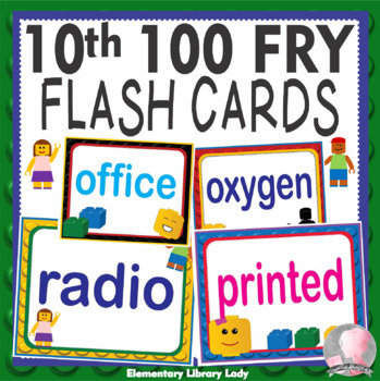 LEGO Like Fry Tenth 10th 100 Sight Words Flash Cards, Letters and Numbers