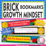 LEGO Decor EDITABLE Growth Mindset Bookmarks or Name Plates