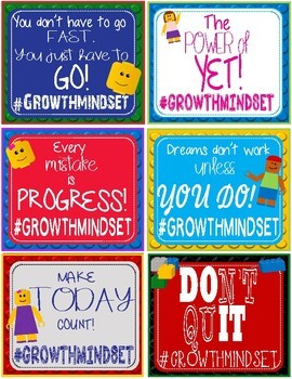LEGO Like Growth Mindset #Hashtag Notes Cards - 30 Different Cards