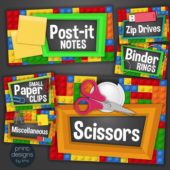 LEGO Teacher Toolbox Drawer & Supply Labels - LEGO Building Block Design Style