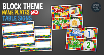 LEGO Theme - Name Plate Labels and Table Labels in Numbers and Names