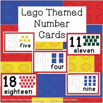 BRICK Themed Number Cards