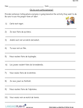 LEISURE ACTIVITIES, VOCAB (FRENCH)