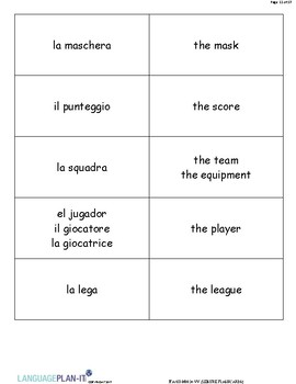 LEISURE FLASHCARDS (ITALIAN)