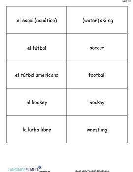 LEISURE FLASHCARDS (SPANISH)