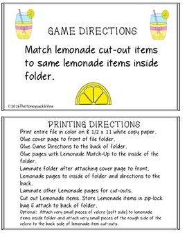 LEMONADE MATCH-UP File Folder Game