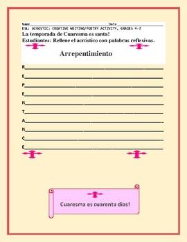 LENT: ESL  ACROSTIC WRITING ACTIVITY: GRADES 4-7
