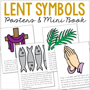 LENT Symbols Posters, Coloring Pages, and Mini Book, Easter, Holy Week