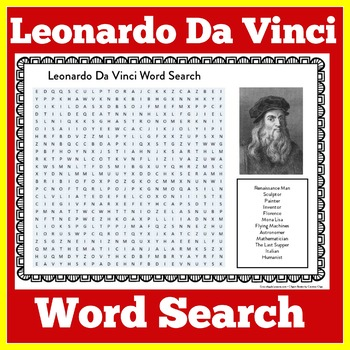 LEONARDO DA VINCI ACTIVITY ( WORD SEARCH)