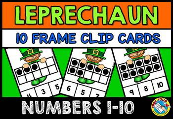 LEPRECHAUN MATH ACTIVITIES (TEN FRAMES CLIP CARDS) PRE K 10 FRAMES CENTER