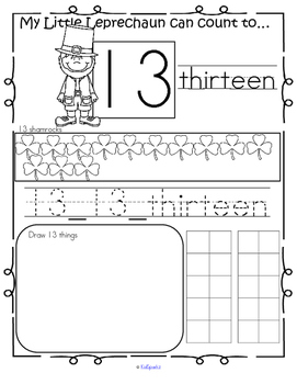St. Patrick's Day Number Practice Printables - Recognition Tracing Counting 1-20