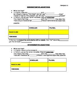 LES ADJECTIFS DEMONSTRATIFS & INTERROGATIFS: Worksheet on