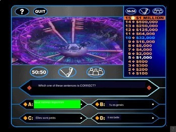 LES ADJECTIFS (French Adjectives): Who Wants to Be a Millionaire Review Game