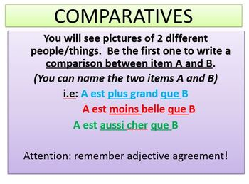 LES COMPARATIFS - French Review Game on Comparative Adverbs