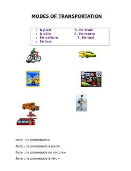 LES MODES DE TRANSPORT: French Modes of Transportation - Vocabulary Sheet