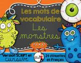 LES MONSTRES - Mots de vocabulaire /24 affiches (script et cursif)