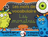 FRENCH VOCABULARY CARDS LES MONSTRES - Mots de vocabulaire - script et cursif