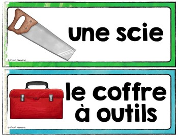 LES OUTILS - Mots de vocabulaire /24 affiches (script et cursif)