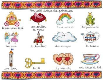 LES PRINCESSES - Mots de vocabulaire /24 affiches (script et cursif)