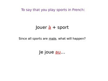 LES SPORTS, LES JEUX ET LA MUSIQUE: Things You Play - PP Lesson