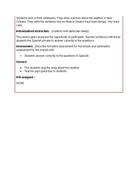 LESSON PLAN (WEATHER)