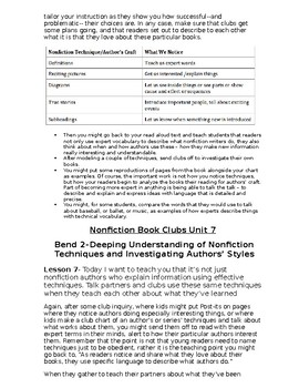 LESSONS - Non Fiction Book Club Reader's Workshop