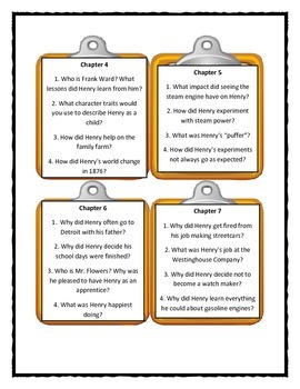 LET'S DRIVE, HENRY FORD Scholastic Biography - Discussion Cards