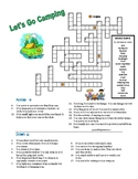 LET'S GO CAMPING PUZZLE - CROSSWORD QUIZ with Clues/Definitions & Word Bank